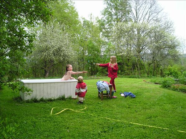 Ett bad utomhus under ett blommande äppelträd är inte bara för de som har råd med spa. Detta badkar är köpt på en kommunal återvinningsstation för 200 kr och klädd in med målade brädor. Fylls enkelt med en vattenslang genom badrumsfönstret.