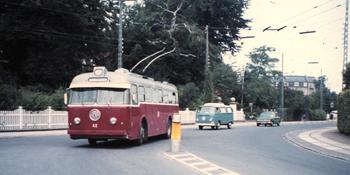 Bilden: Trådbuss i Köpenhamn framifrån
