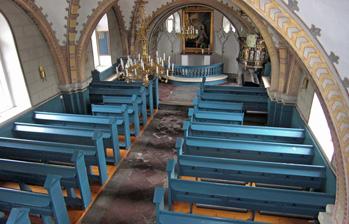 Starby kyrka sedd från läktaren