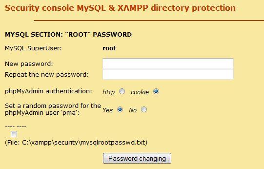 xampp installation lösenord