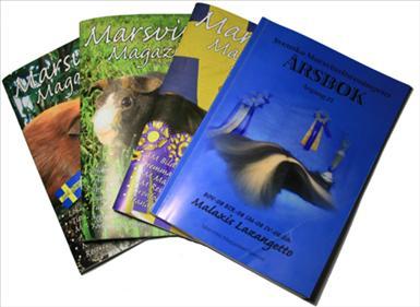 Marsvins Magazinet kommer ut 6 gånger om året. Årsboken kommer en gång om året.
