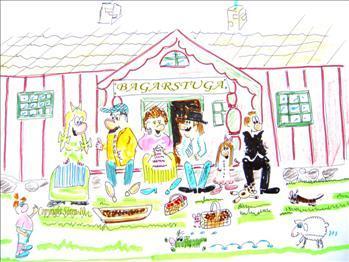 Teckning på en bagarstuga av Sören