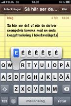 Genvägar på tangentbordet i iPhone.