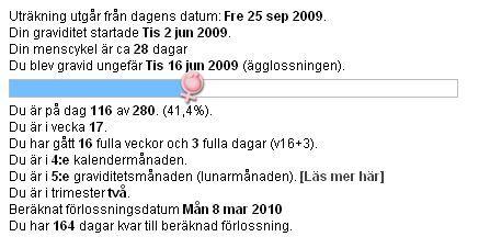 räkna ut förlossningsdatum