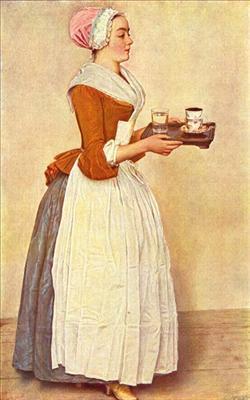 Chokladflickan, omkr.1744. Pastell på pargament. Målning av Jean-Étienne Liotard (1702-89). Gemäldegalerie Alte Meister, Dresden. Bilden tagen från Wikipedia.