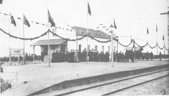 Skanörs station under invigningen 18 maj 1904